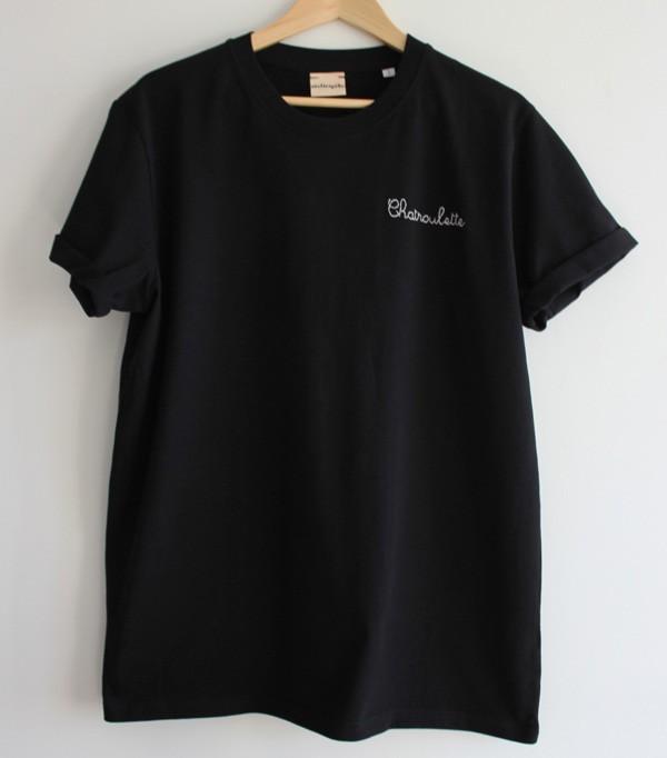 T-shirt noir brodé...