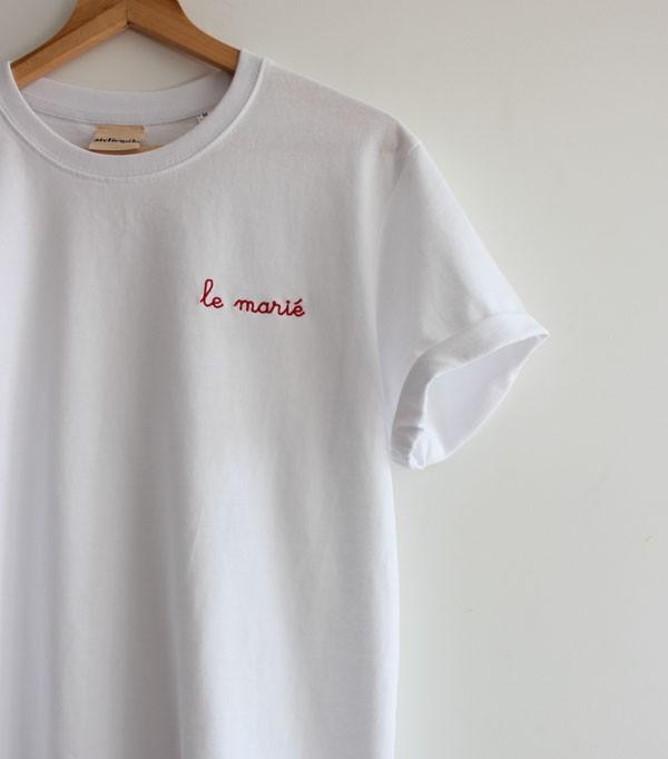 T-shirt Blanc Homme brodé...