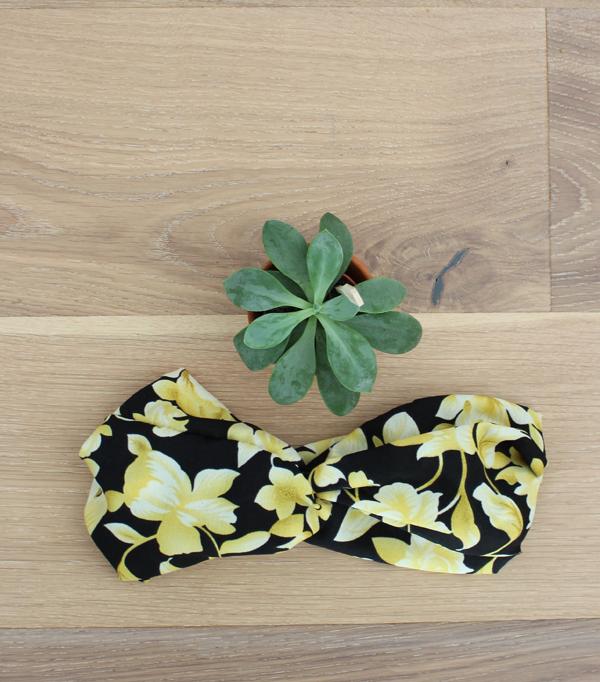 Headband- noir fleurs jaune