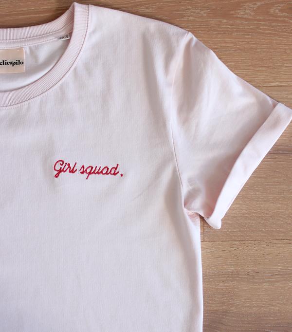 tee shirt brodé femme rose...