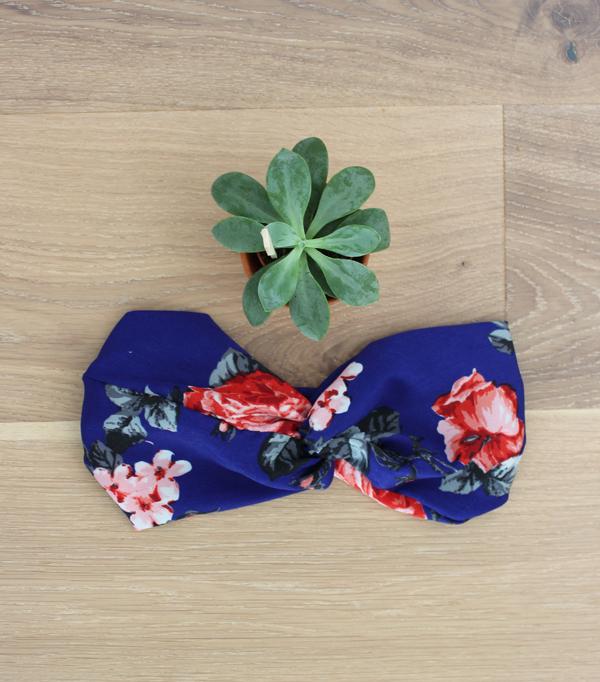 Headband fleuri - Bleu et...