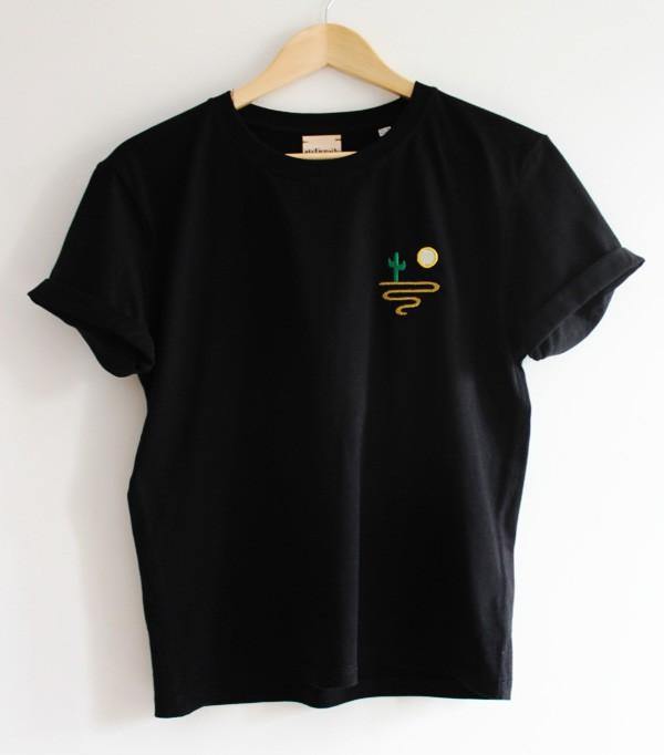 T-shirt noir brodé femme -...