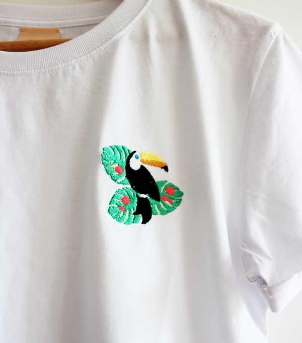 T-shirt brodé femme - Toucan
