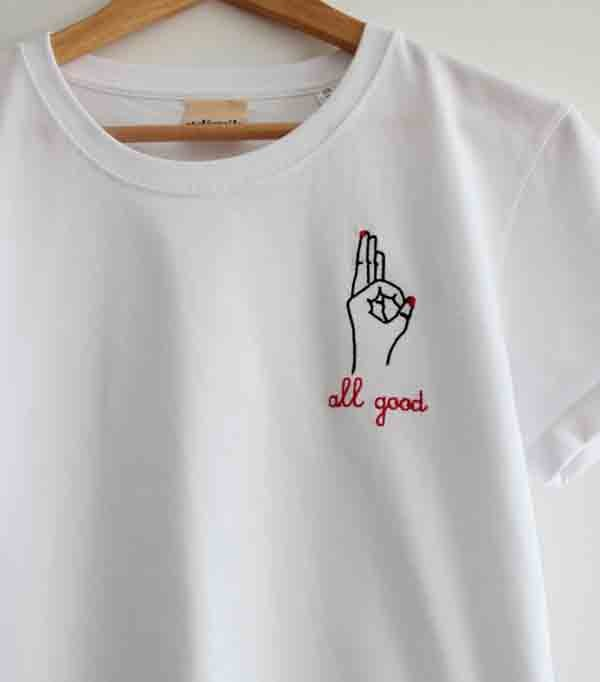 T-shirt brodé femme - All good