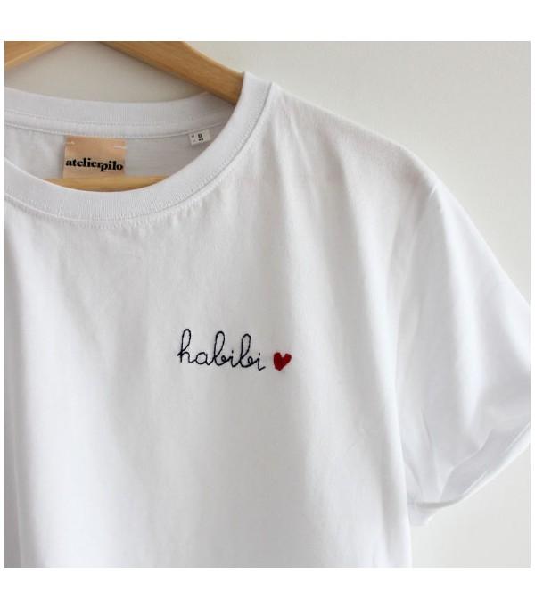 T-shirt blanc brodé...