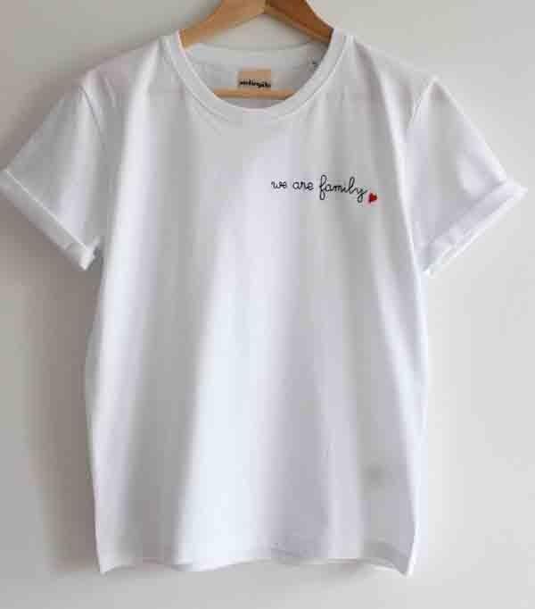 T-shirt brodé main femme -...