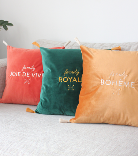 coussin broderie multicolore
