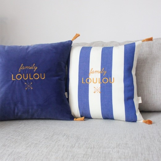 coussin broderie rayures
