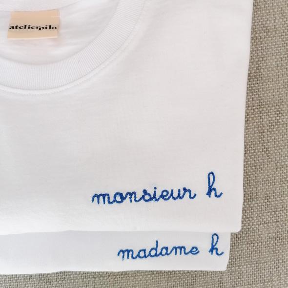 tee shirt brode personalise MONSIEUR MADAME H
